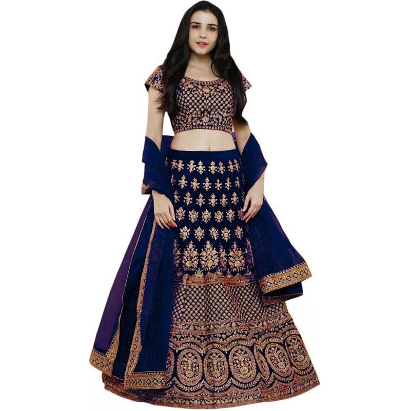 Blue Velvet Embroidered Lehenga Choli