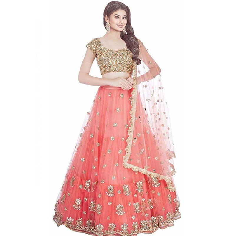 Pink Colored Satin Lehenga Choli