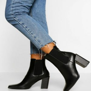Block Heel Square Toe Chelsea Boots