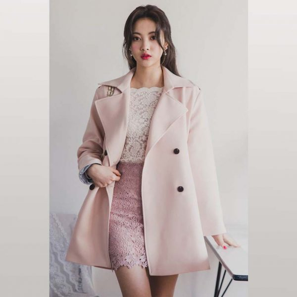 Check Accent Double Breasted Coat