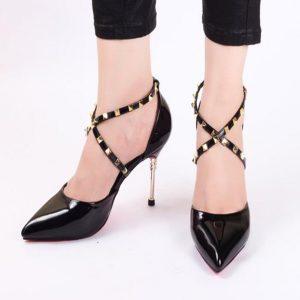 Cross Black High Heels for Ladies