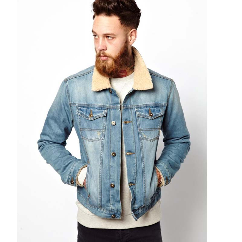 Denim Jacket with Borg Collar