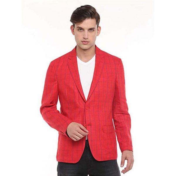 Linen Club Men Red Regular Fit Blazer