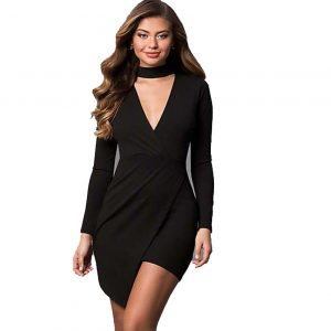 Long Sleeve Mock Wrap Party Dress with V-Neck