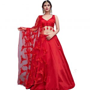 Red Lehenga Choli with Embroidered Dupatta