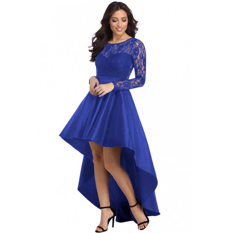 Royal Blue Long Sleeved High Low Dress