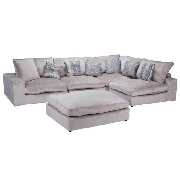 Sapphire Silver Fabric 5 Piece Corner Sofa