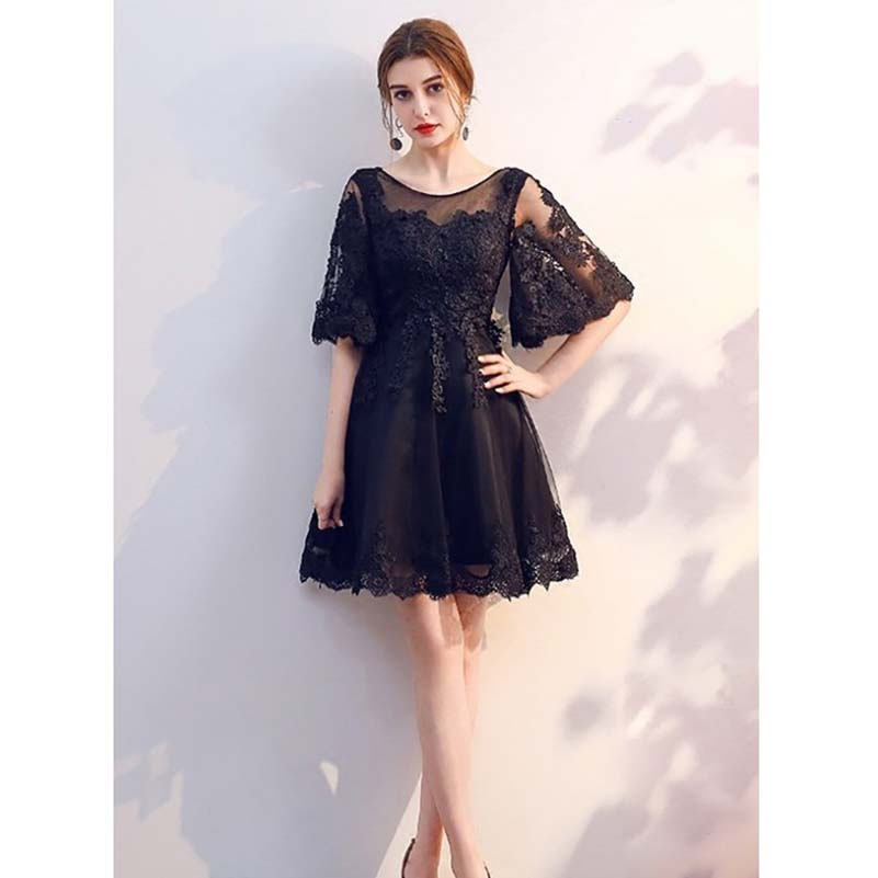 Short Lace Sleeved Party Dress