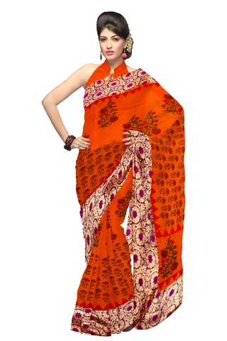 Half N Half Art Silk Saree