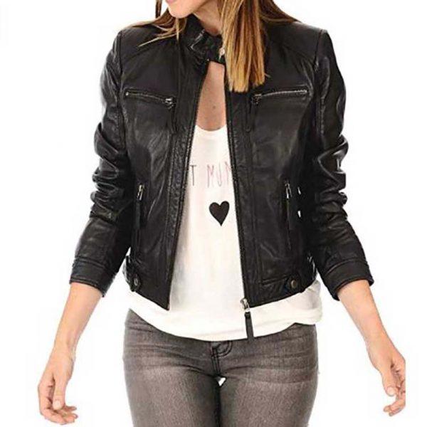 women black biker racer leather jacket